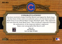 2006 Fleer Greats of the Game Mark Grace Bat Barrel Auto Back