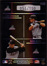 2004 Donruss Elite #ET-5 Elite Team Black SN#056/150 with Curt Schilling, Randy Johnson and Luis Gonzalez