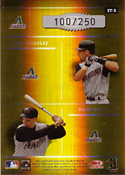 2004 Donruss Elite #ET-5 Elite Team Gold SN#100/250 with Curt Schilling, Randy Johnson and Luis Gonzalez