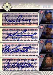 2004 Upper Deck Ultimate Collection #QS-BGSS Ultimate Signatures Quad Autographs with Ernie Banks, Ron Santo & Ryne Sandberg SN#06/10