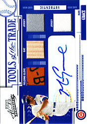 2005 Playoff Absolute Memorabilia #TT-83 Tools of the Trade Reverse Blue Glove/Bat/Dual Jerseys/Autograph SN#07/10
