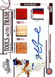 2005 Playoff Absolute Memorabilia #TT-83 Tools of the Trade Red Glove/Bat/Dual Patches/Autograph SN#2/5