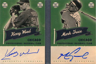 2013 Panini America's Pastime Superstar Scripts Silver Dual Autograph Booklet Red #CHC with Kerry Wood SN#03/10