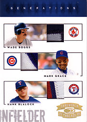 2005 Donruss Throwback Threads #G8 Generations Triple Patches SN#01/10 with Wade Boggs & Hank Blalock